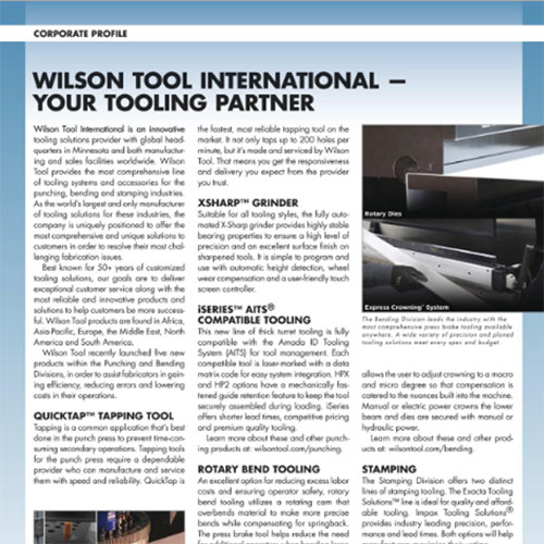 Wilson Tool International - Your Tooling Partner