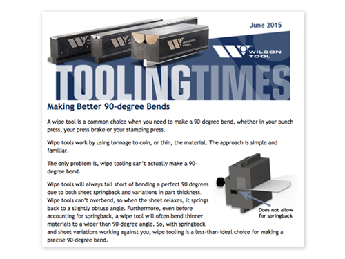 preview of Better 90-degree Bends Article in the June 2015 Tooling Times eNewsletter