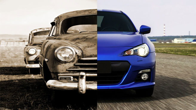 Split image of an old rusted car and a new blue sports car