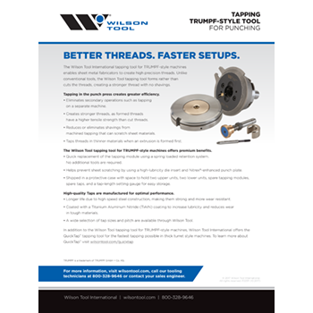 Tapping TRUMPF-Style Tool Flyer