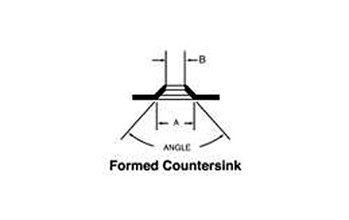 Diagram showing a Formed Countersink