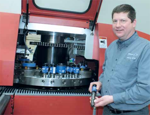 image of Wilson Tool customer using hi EXP tooling in a punch press