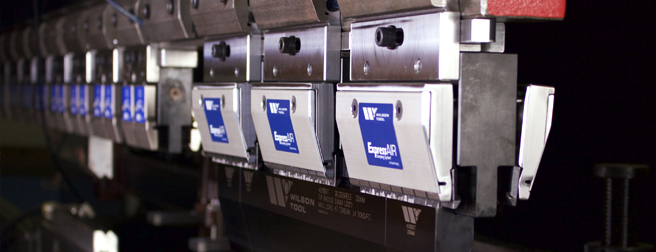 Close up image of Express Air clamping system loaded into a press brake