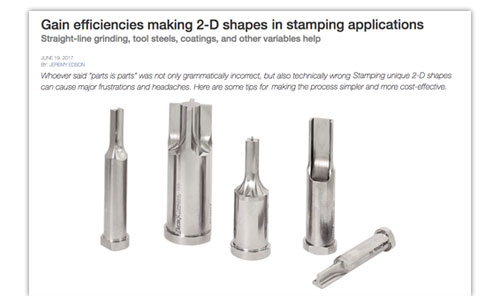 Gain efficiencies making 2D Shapes in stamping applications Article