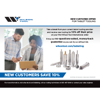 Tablet Tooling New Customer Offer