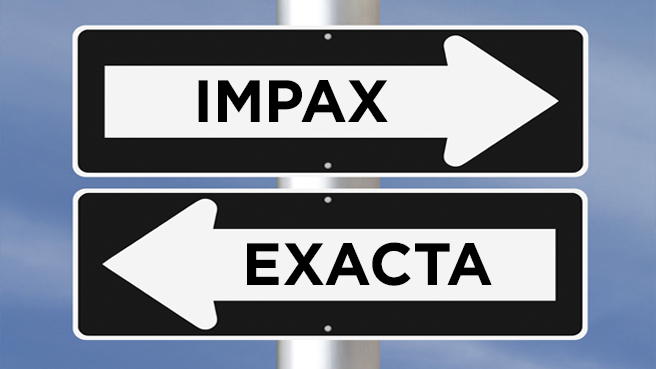 Arrow signs pointing to the right for Impax and the left for Exacta